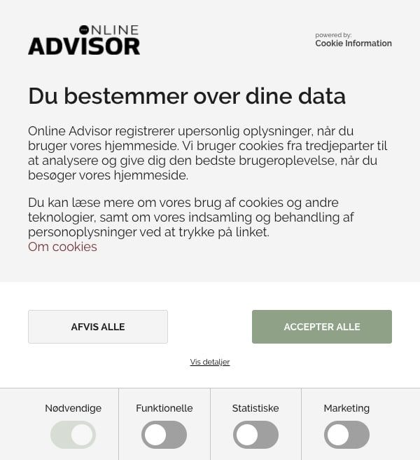 Online Advisors Cookie Information eksempel